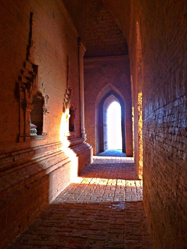 The setting sun from inside the Bulethi Pagoda
